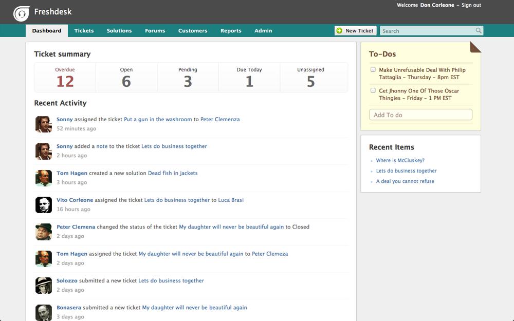 Here's how part of Freshdesk UI looks like
