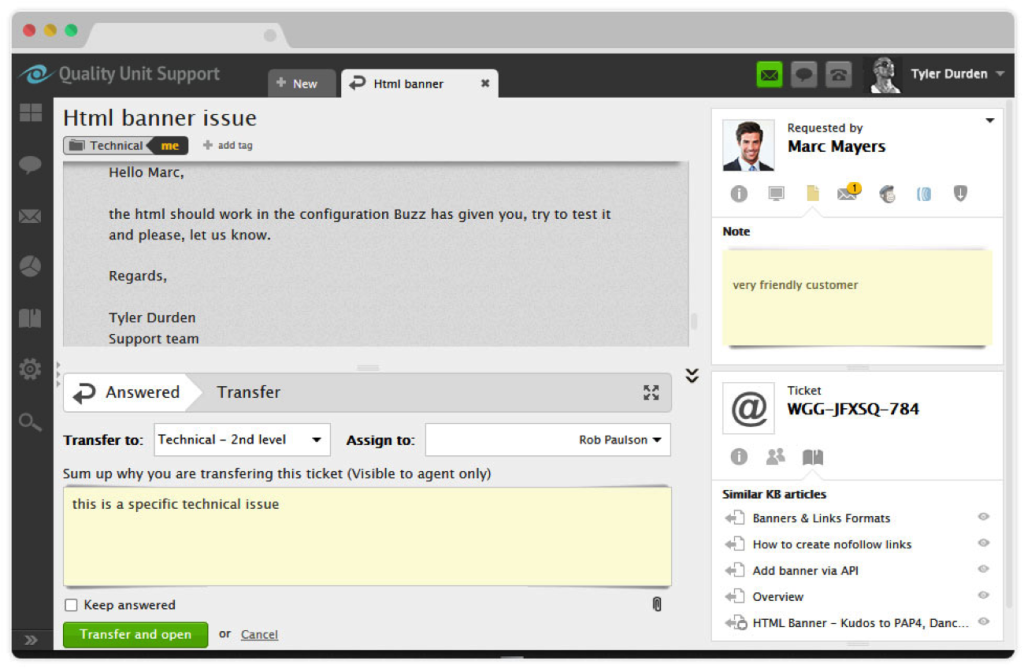 Overview of LiveAgent interface.